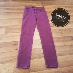 👻Rue21 Mid Rise Skinny Maroon Jeans, 1/2R👻
